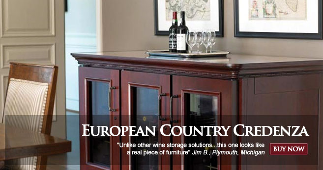 Le Cache Wine Cabinets: European Country Credenza - Classic Cherry Finish