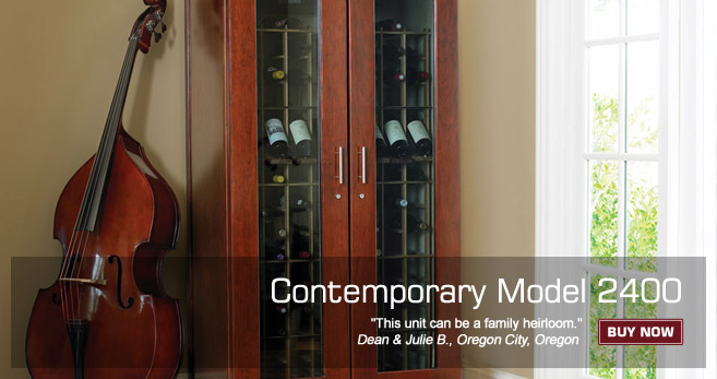 Le Cache Wine Cabinet: Contemporary Model 2400 - Classic Cherry Finish