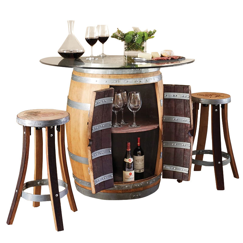 Recycled Barrel Pub Table U0026 2 Pub Stools Set #17440