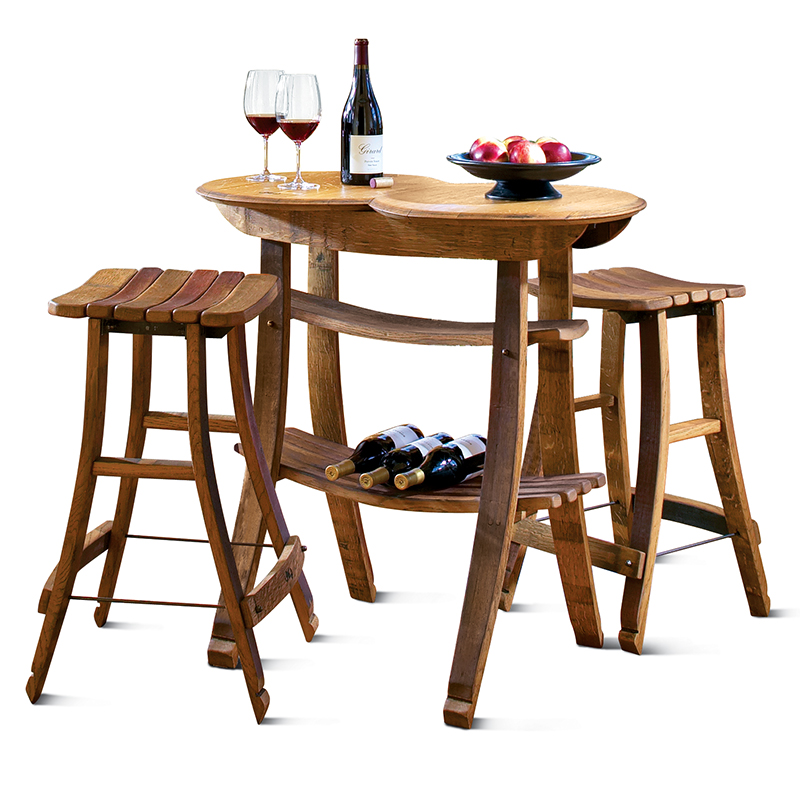 Recycled Barrel Stave Table And 2 Stools #2957